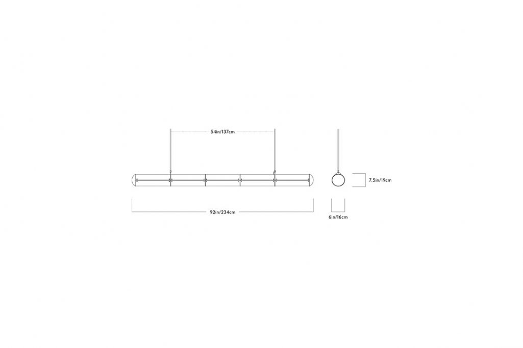 line drawing and dimensions for roll & hill endless pendant 5 units