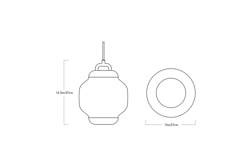 line drawing and dimensions for a roll & hill esper pendant 01