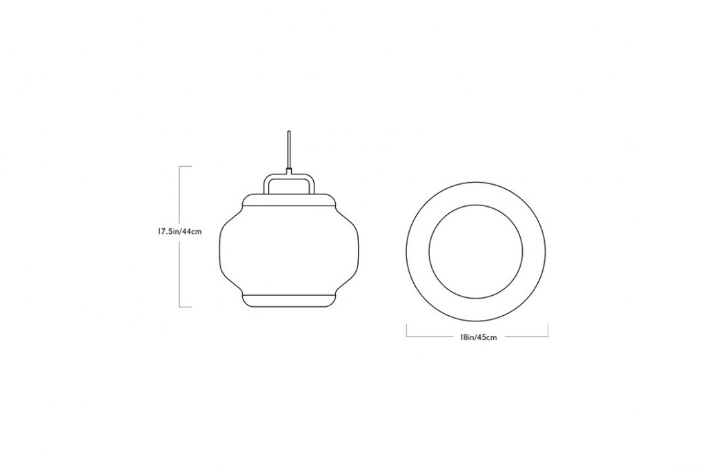 line drawing and dimensions for a roll & hill esper pendant 02