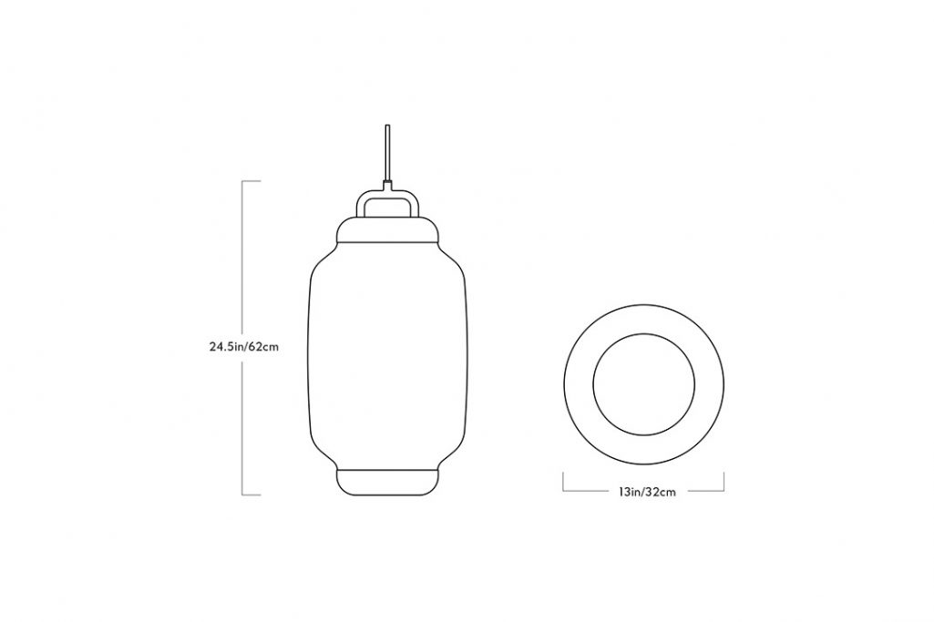 line drawing and dimensions for a roll & hill esper pendant 03