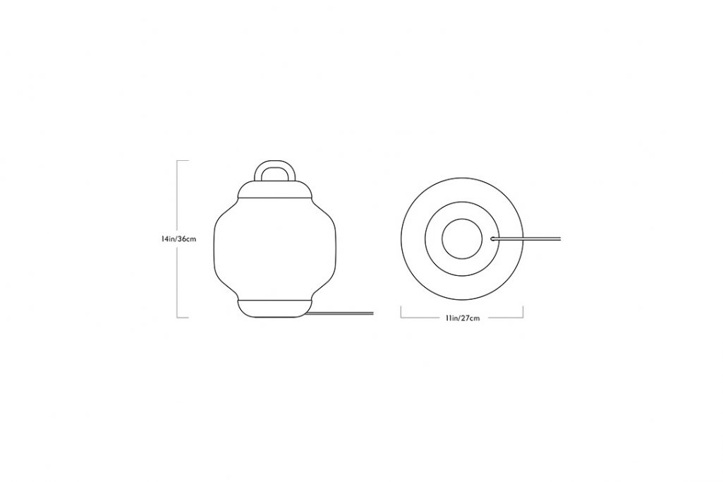 line drawing and dimensions for roll and hill esper table lamp