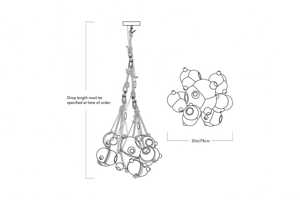 line drawing and dimensions for roll & hill knotty bubbles chandelier 1/6