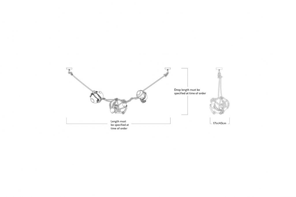 line drawing and dimensions for roll & hill knotty bubbles chain