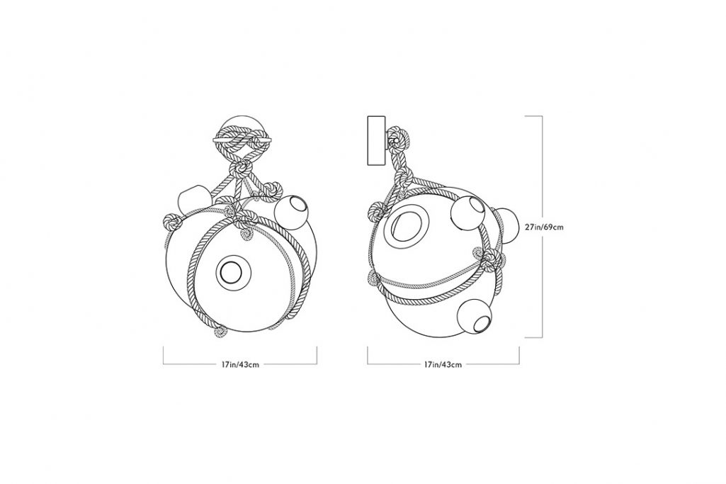 line drawing and dimensions for a roll and hill knotty bubbles sconce large