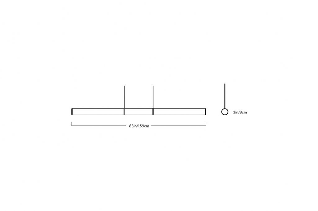 line drawing and dimensions for roll & hill mini endless pendant light