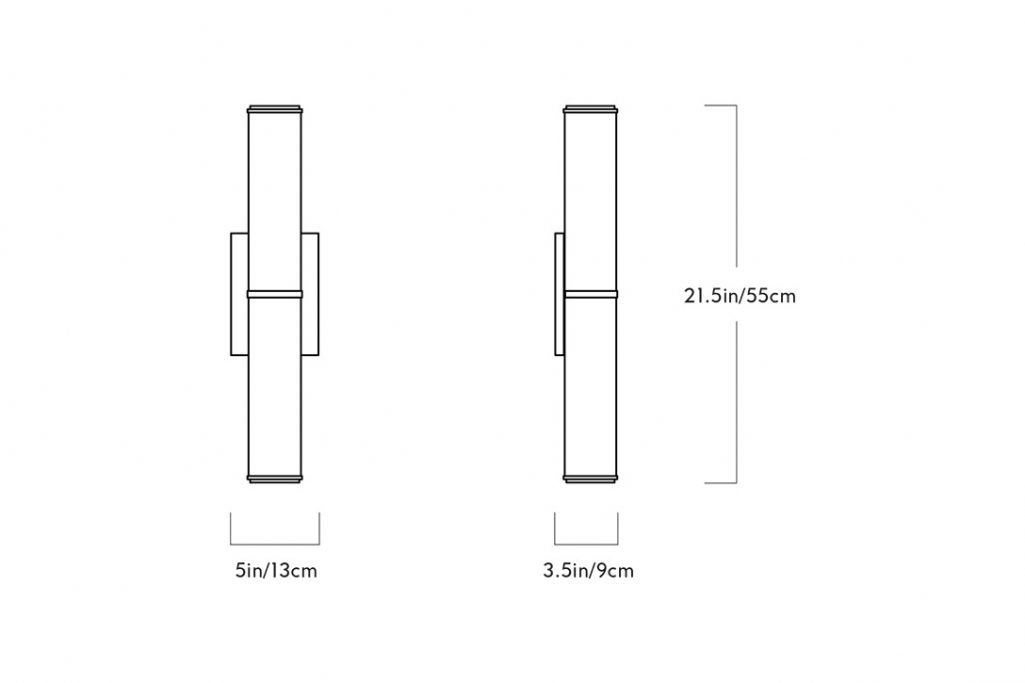 line drawing and dimensions for a roll & hill mini endless sconce