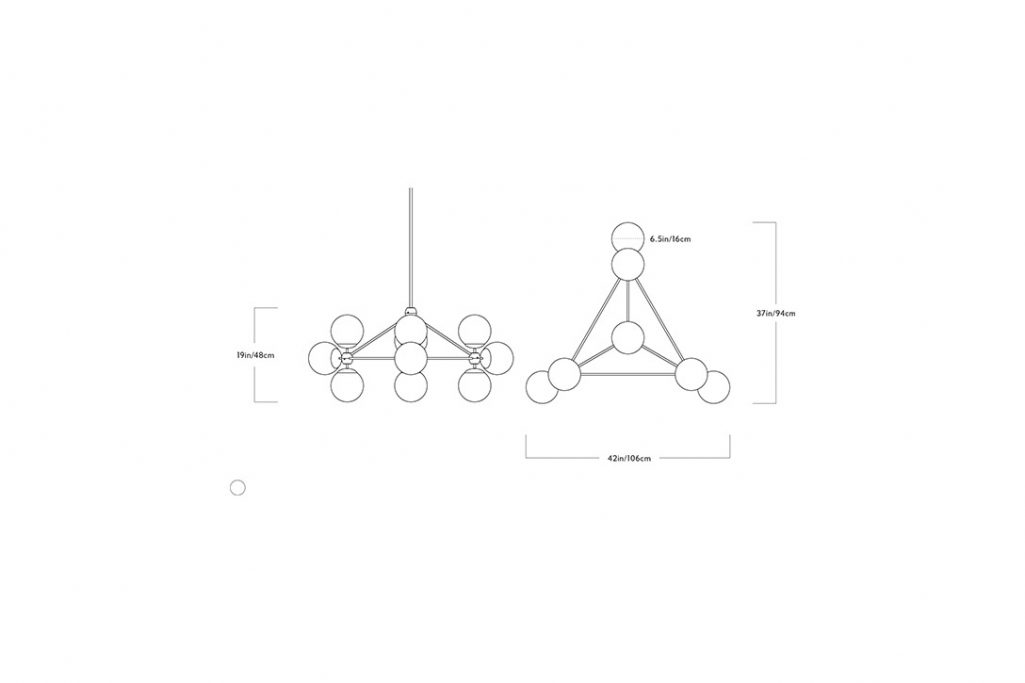 line drawing and dimensions for a roll and hill modo chandelier 3-sided