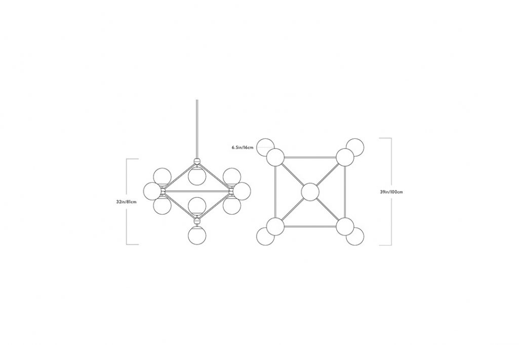 line drawing and dimensions for a roll and hill modo chandelier 4-sided