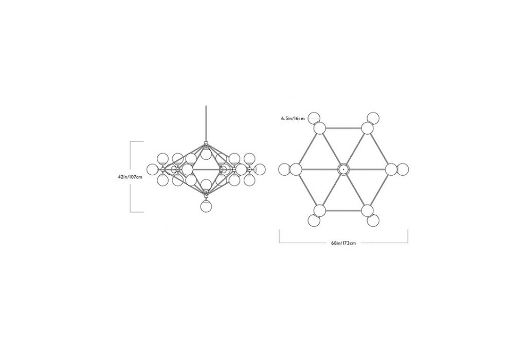 line drawing and dimensions for a roll and hill modo chandelier 6-sided