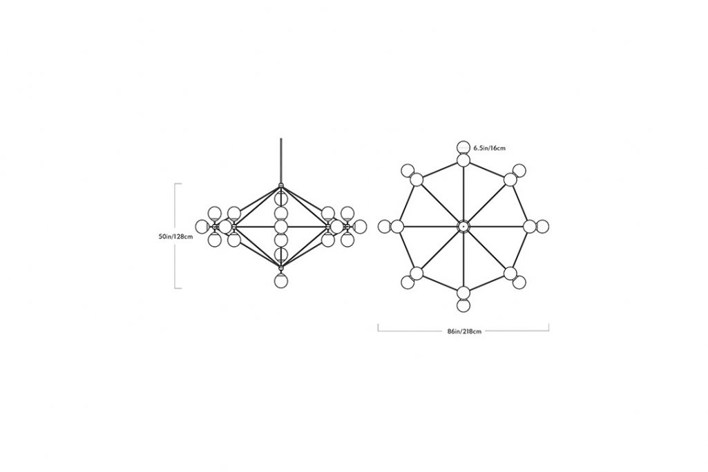 line drawing and dimensions for a roll and hill modo chandelier 8-sided