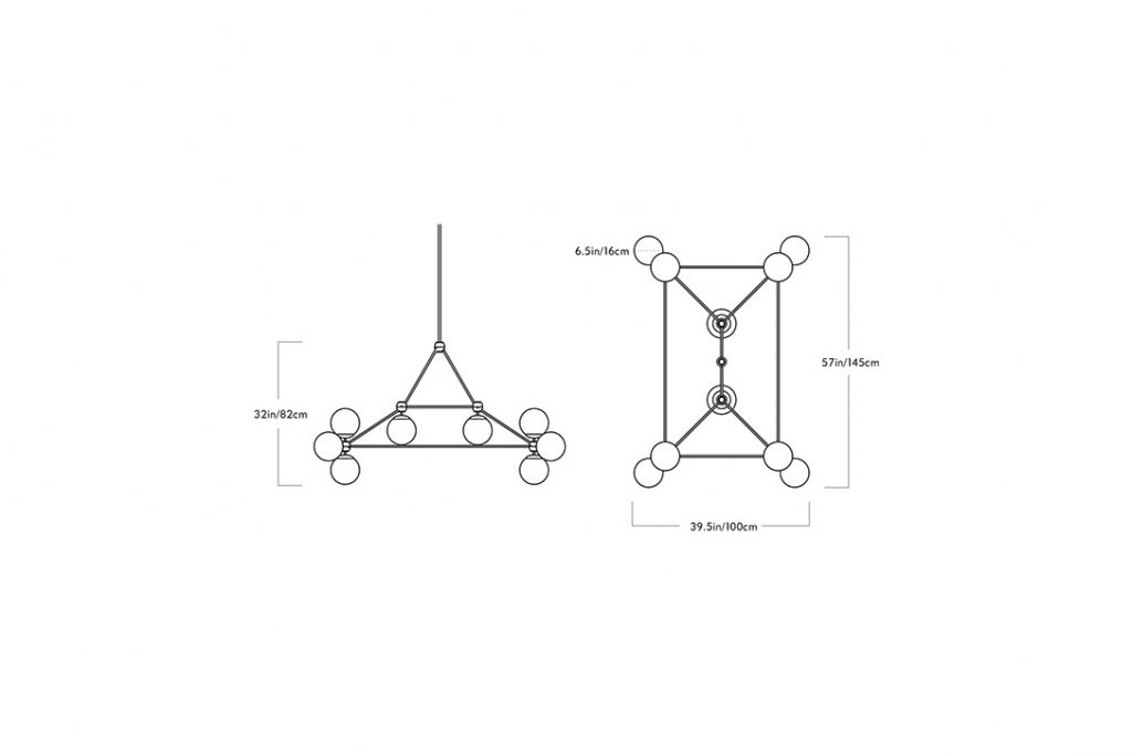 line drawing and dimensions for a roll and hill modo chandelier rectangle