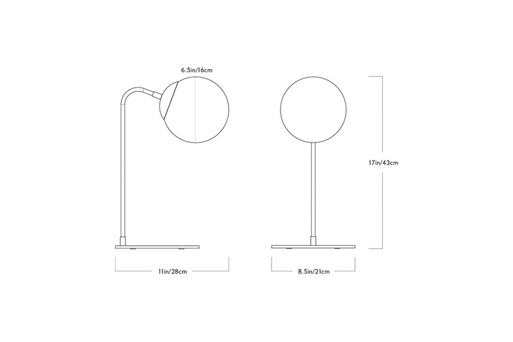 line drawing and dimensions for a roll & hill modo desk lamp