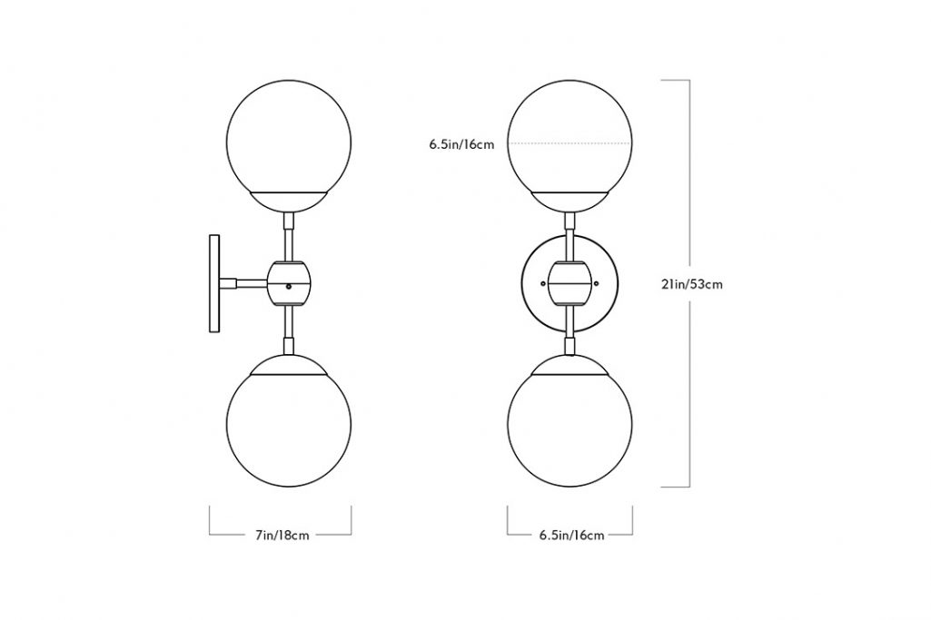line drawing and dimensions for a roll and hill modo sconce 2 globes