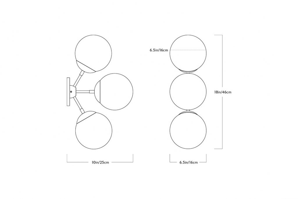 line drawing and dimensions for a roll and hill modo sconce 3 globes