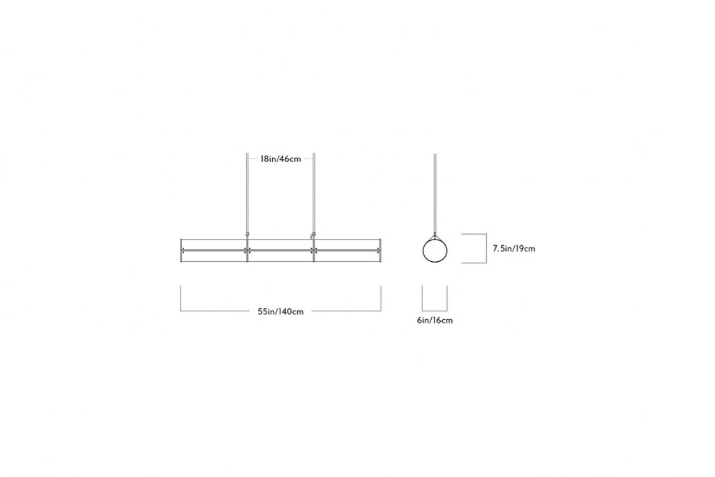 line drawing and dimensions for a roll & hill woody endless pendant 3 units