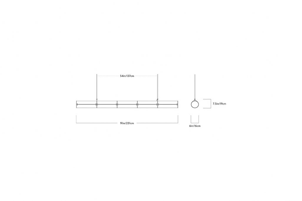 line drawing and dimensions for a roll & hill woody endless pendant 5 units