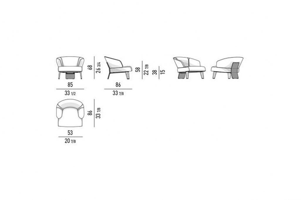 line drawing and dimensions for minotti reeves large armchair