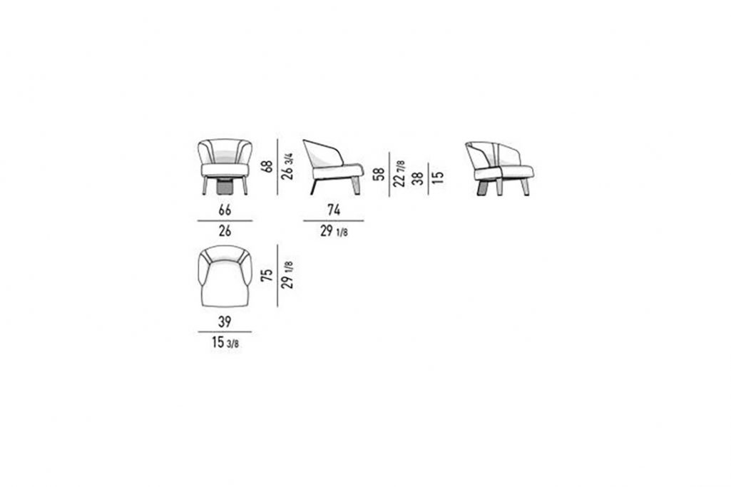 line drawing and dimensions for minotti reeves small armchair fixed
