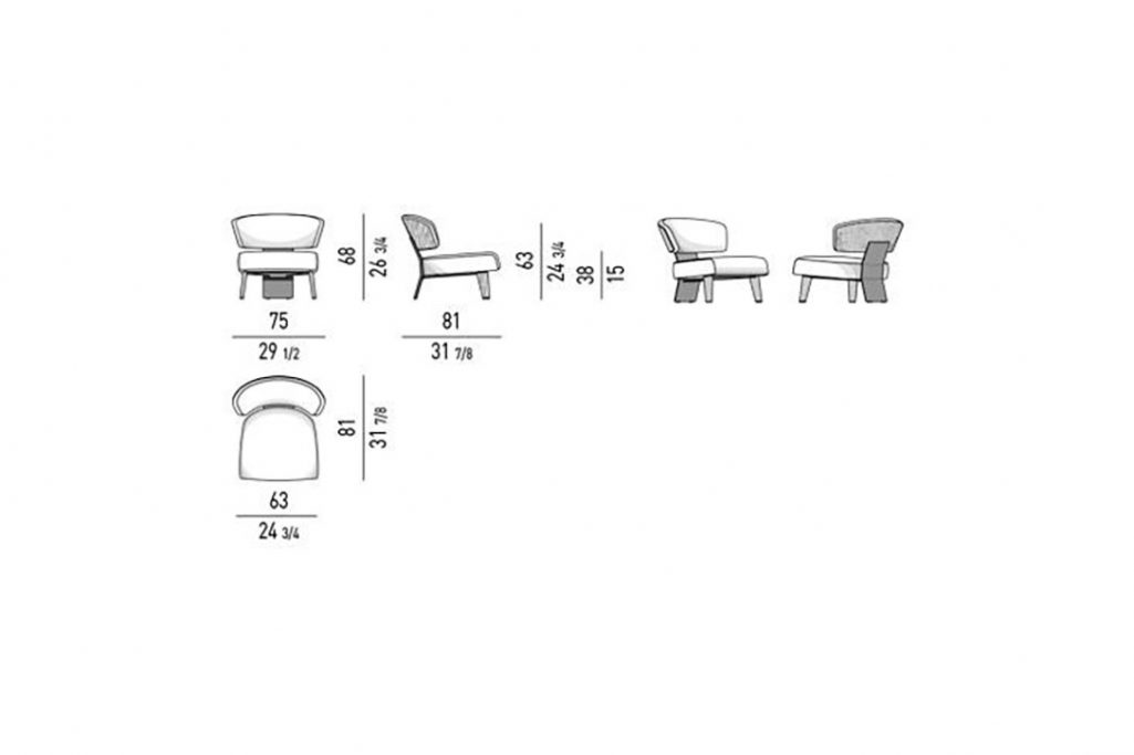 line drawing and dimensions for minotti reeves wood armchair