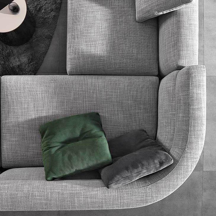bird's eye view of a curved corner on the minotti alexander sofa