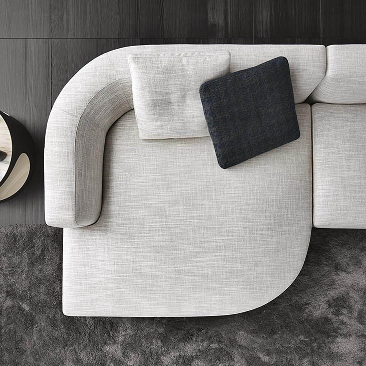 bird's eye view of a curved component on a minotti alexander sofa