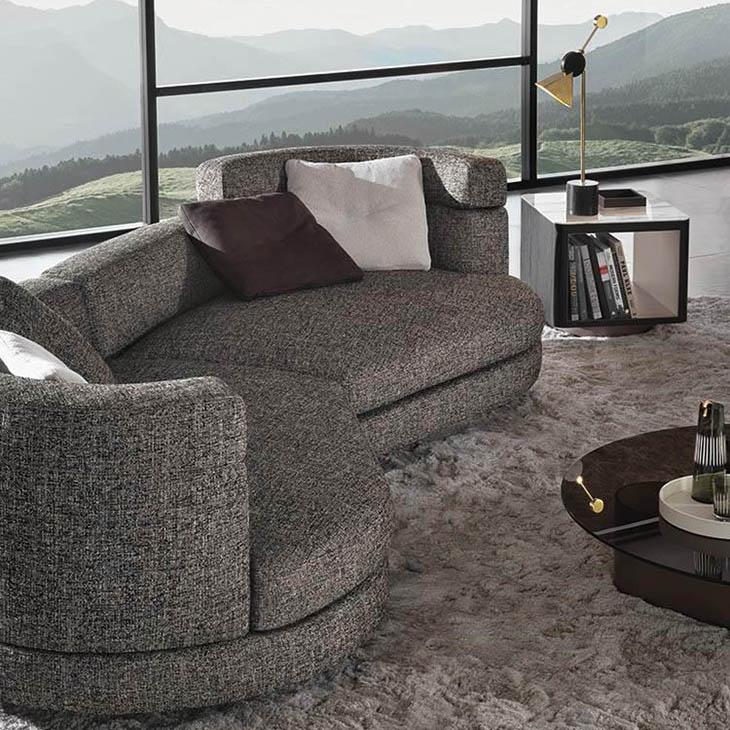 modern living room featuring a minotti alexander sofa