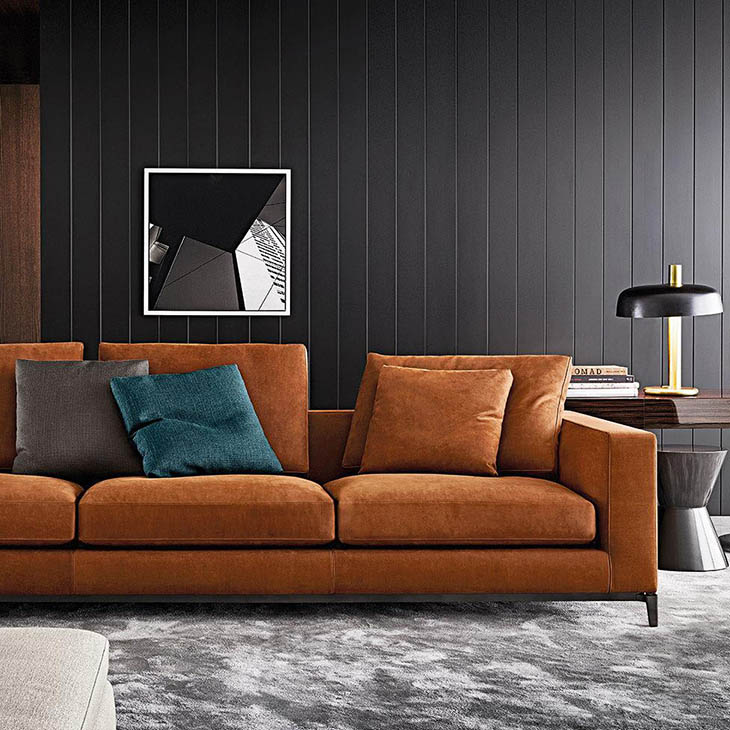 modern living room featuring minotti andersen sofa
