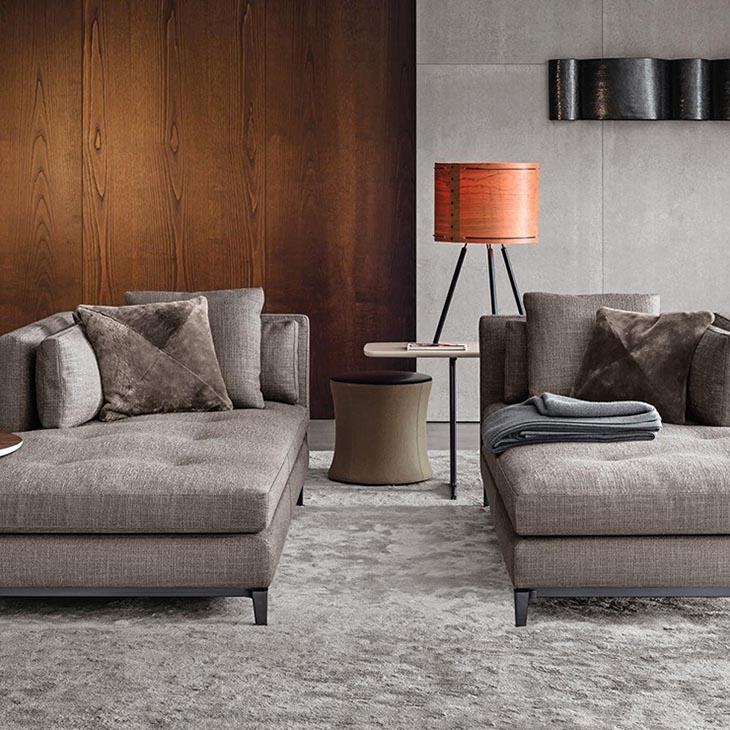 modern living room featuring minotti andersen chaises