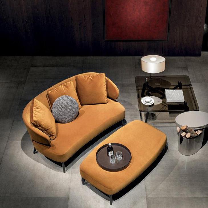 bird's eye view of minotti aston sofa and bench