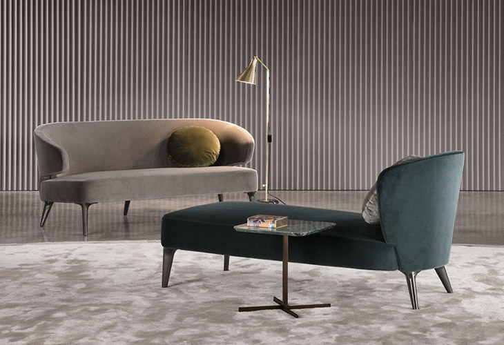 modern space featuring minotti aston sofa and daybed