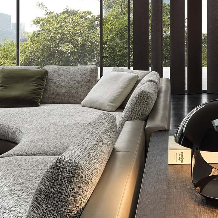 modern living room featuring minotti daniels sofa