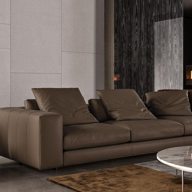 modern living room featuring minotti freeman duvet sofa