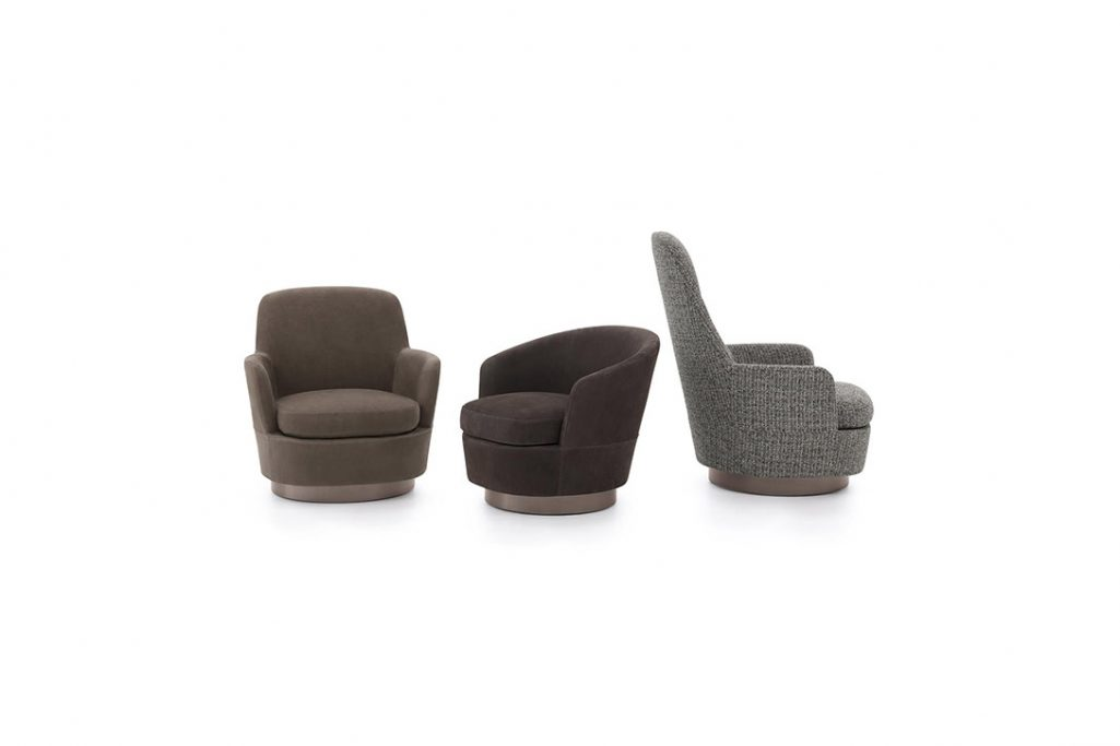 minotti jacques low armchair, high armchair, and bergère on a white background
