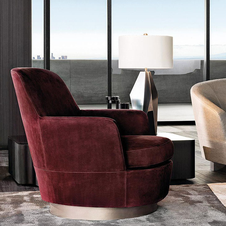 modern living room featuring minotti jacques armchair