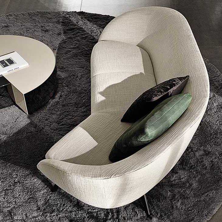 modern living room featuring minotti russell sofa
