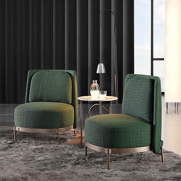 modern living room featuring two minotti tape armchairs
