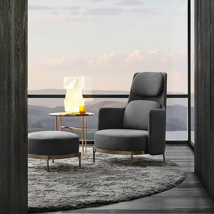 modern living room featuring minotti tape bergère