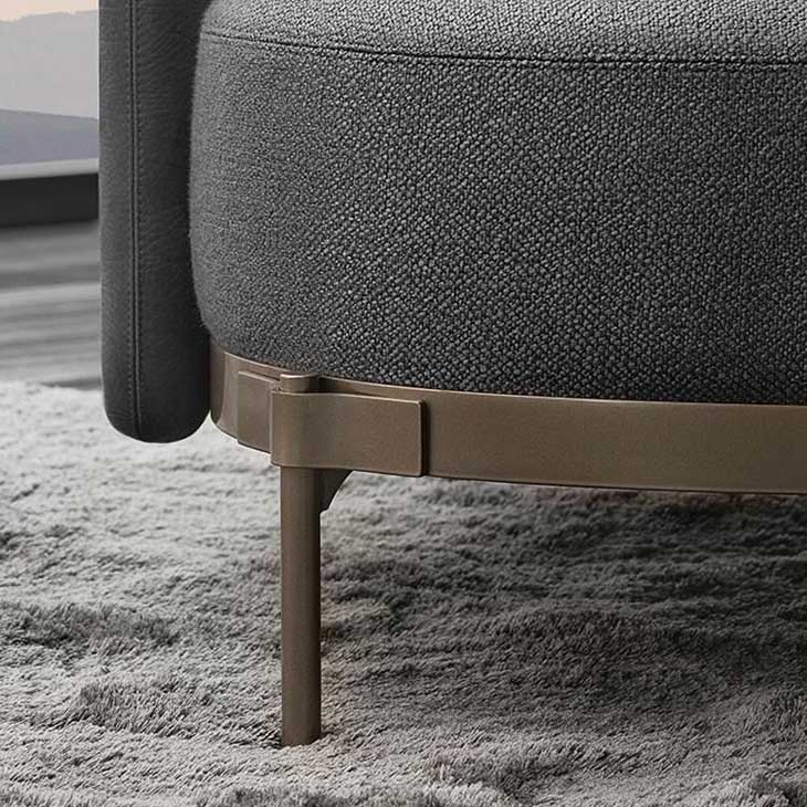 """close up of """"tape"""" detail on minotti tape armchair"""