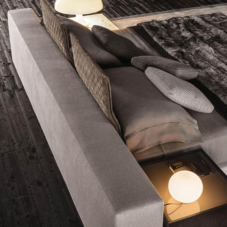 modern bedroom featuring minotti yang bed