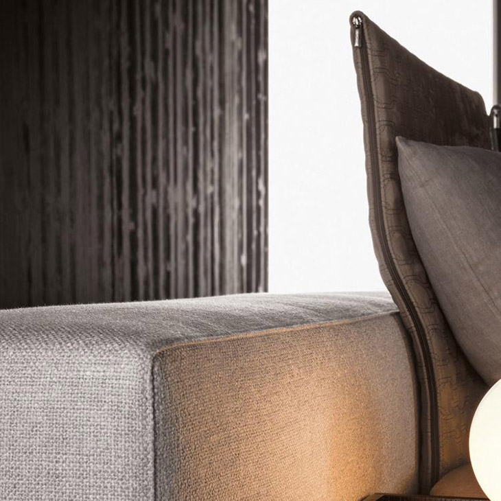 close up of headrests on minotti yang bed