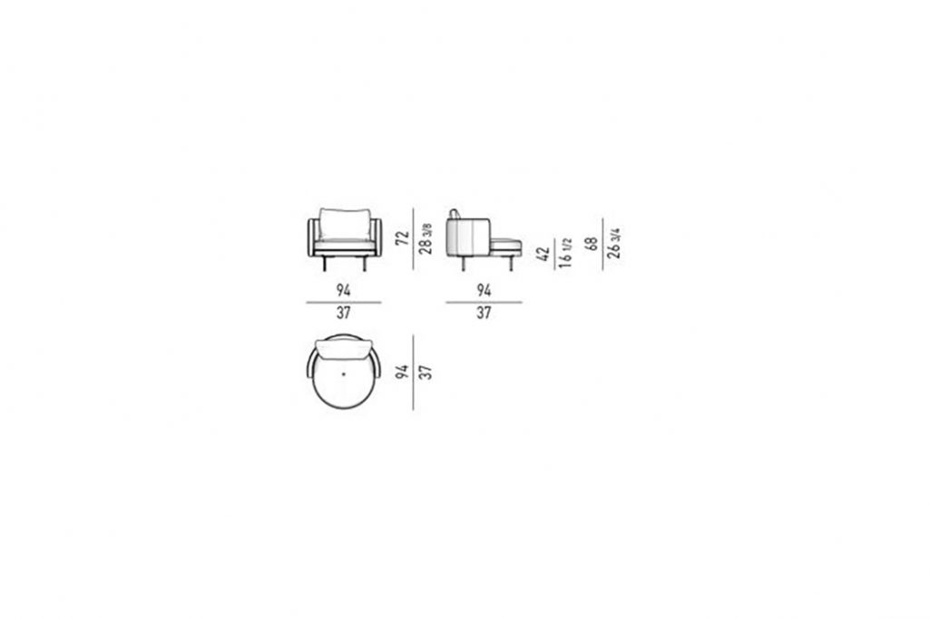 line drawing and dimensions for minotti torii armchair large fixed