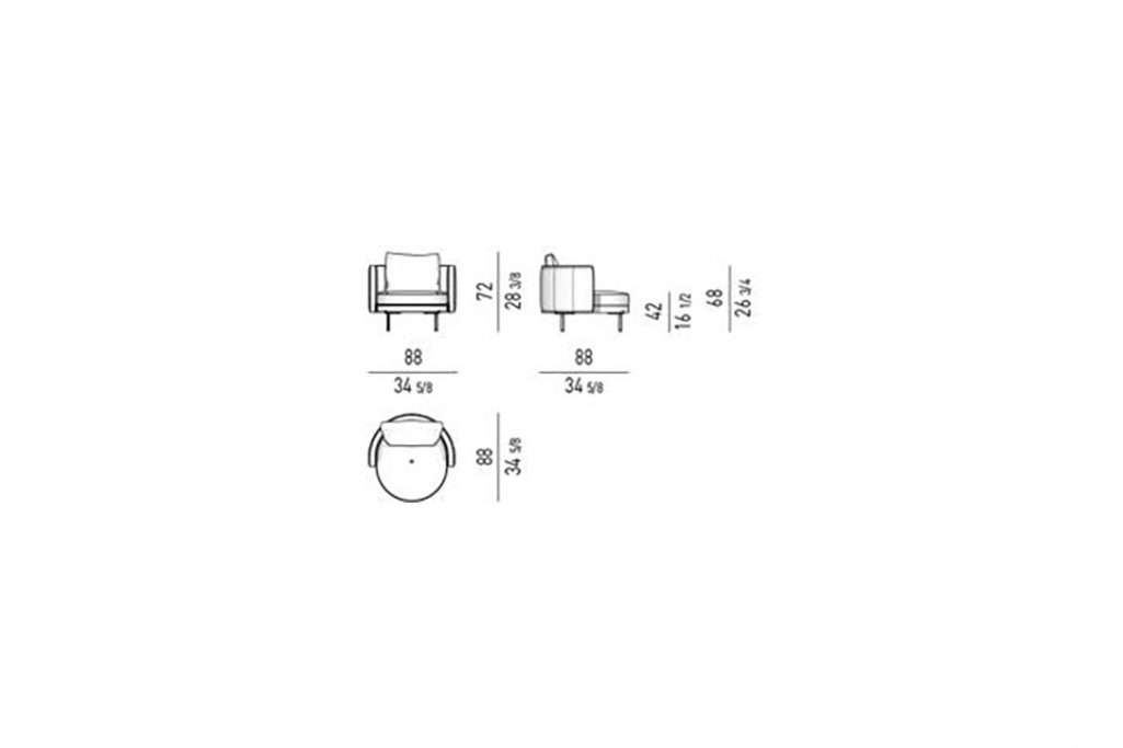 line drawing and dimensions for minotti torii armchair medium fixed