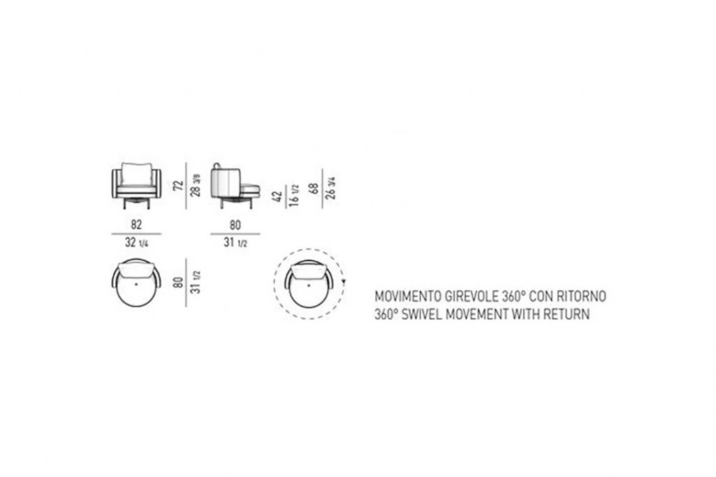 line drawing and dimensions for minotti torii armchair small swivel