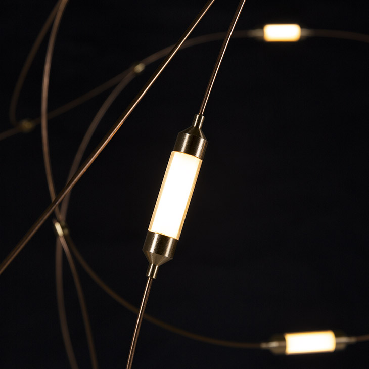close up of moooi flock of light pendant