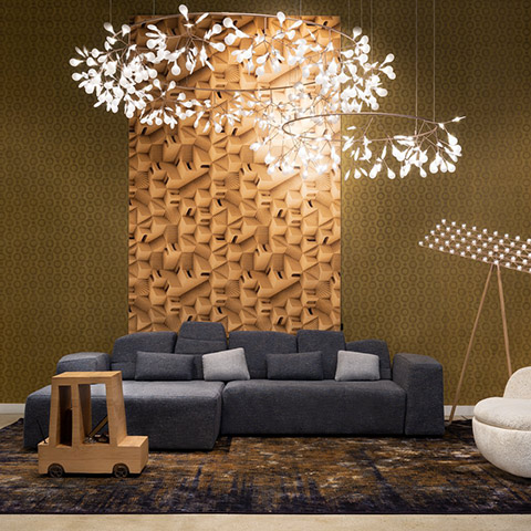 modern living room featuring two moooi heracleum the big o pendant lights
