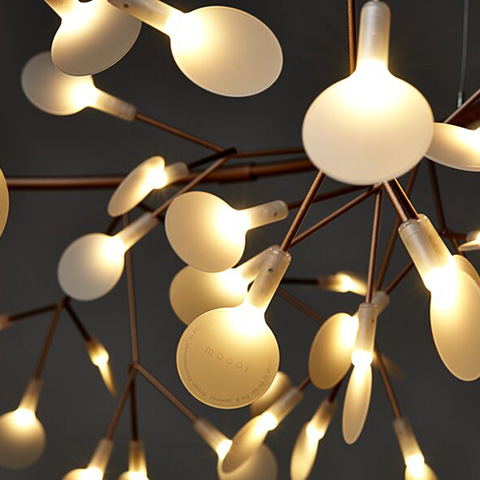 close up of moooi heracleum the big o pendant light in copper
