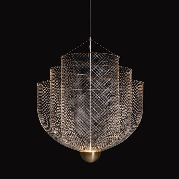 moooi meshmatics pendant light on a black background