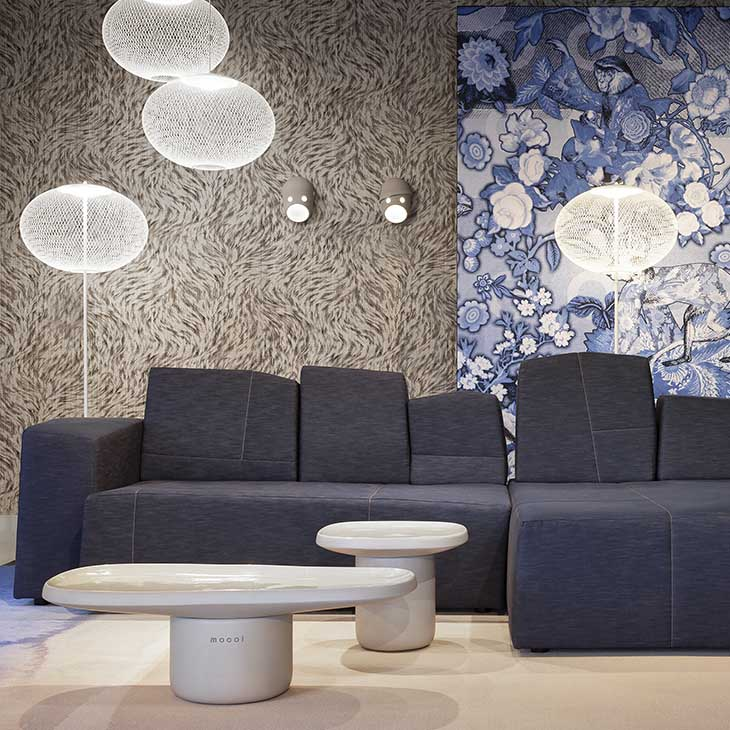 modern living room featuring two moooi nr2 floor lamps and two nr2 pendant lights