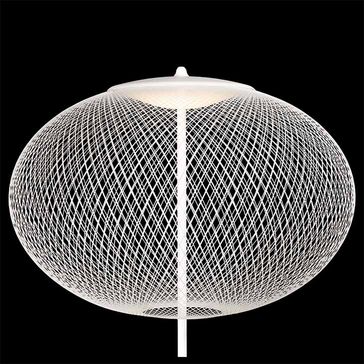 close up of a white moooi nr2 floor lamp