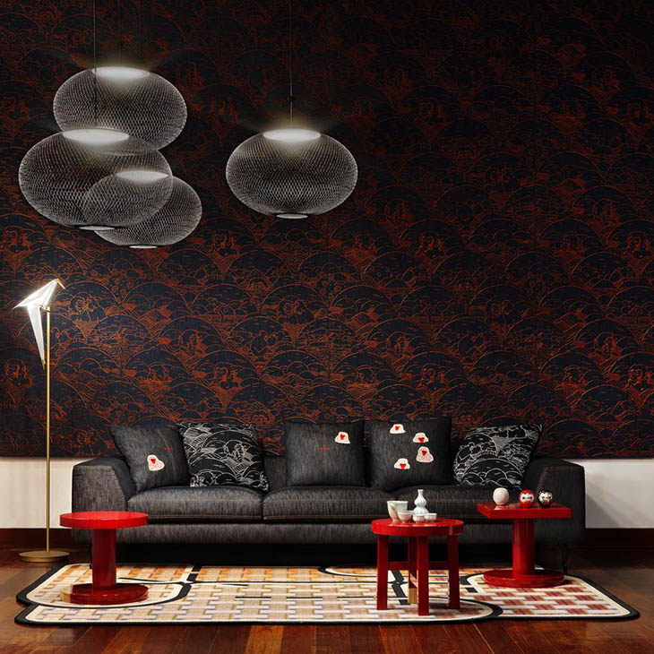 modern living room featuring a cluster of moooi nr2 pendant lights